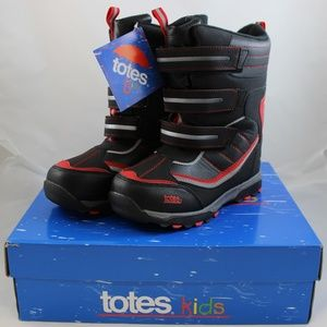 Totes Silas Boys' Winter Boots - Black / Red